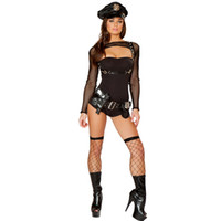 Wholesale Pirate Suit Women - Newest Bad Cop black Halloween costume Halloween Cosplay Sexy women police bondage suit Sexy Cop Cosplay Costume Mesh