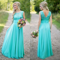Wholesale Turquoise Sequin Bodice - 2016 Country Bridesmaids Dresses Long Formal Turquoise Lace Bodice Chiffon Skirt Floor Length Maid of the Honow Gowns Sequined Tulle Ruched