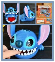 Wholesale Original stitch pvc figure toys with color box press tooch the mouth will be closed Bite Finger Stitch toys