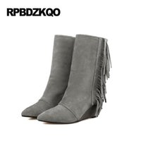 Fringe Luxury Slip на женских сапогах Зима 2017 Серые замшевые туфли Tassel Wedge Pointed Toe Ladies Mid Calf Fashion Chinese Female