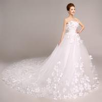 Wholesale Strapless Slim Ball Gown - Vestido De Noiva Sweet Romantic Flower Strapless Sleeveless Long Tail White Wedding Dress Custom Plus Size Slim Bride Ball Gown