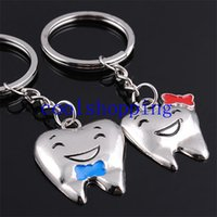 Wholesale Tooth Dentist Key Chains - Cartoon Teeth Keychain Dentist Decoration Key Chains Stainless Steel Tooth Model Shape Dental Clinic Gift