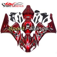 Wholesale Plastic Injection Cover - Plastic Fairings For Honda CBR1000RR 06 07 CBR1000 RR 2006 2007 Injection ABS Motorcycle Fairing Kit Bodywork Cover Cowling Red Silver Flame