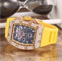 часы felipe massa оптовых-Высокое Качество Мужчины Роскошные Часы Из Розового Золота Нержавеющей RM011 Diamond Date Felipe Massa Flyback Резина Женщины Мужские Механические Автоматические Наручные Часы