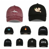 Wholesale wholesale shark baseball caps - Snapback Washed Baseball Cap Men Pink Shark Embroidery Dad Hat For Women DON'T SHOOT Baseball Caps Bone Casquette Caps KKA2895