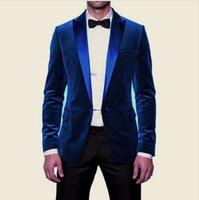 Wholesale Elegant Black Suits For Men - Elegant Blue Velvet Prom Tuxedos Slim Fit Men Wedding Suit Fashion Groom's Wear Dinner Jacket Wedding Suits For Men Velvet Tuxedo