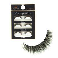 Wholesale super long false eyelashes - 3Pairs Lot 3D Black Cross Thick False Eyelashes Super Soft Natural Long Makeup Eye Lash Extension