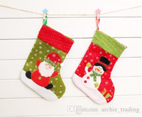 Wholesale Christmas Socks Decorate - Hot Christmas Gift Socks Stockings Decorate 25cm Height Two Styles Santa Claus& Snowman Patch Snow Gift(12pcs lot)