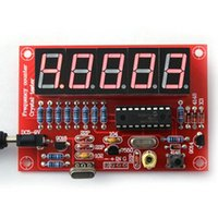 Wholesale Wholesale Frequency Meter - 2PCS LOT DIY Kits RF 1Hz-50MHz Crystal Oscillator Frequency Counter Meter Digital LED Tester Meter