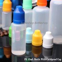 tapas de botellas de china al por mayor-Venta al por mayor de China 2300pcs 15ML PE Empty E Juice Bottle con tapa a prueba de niños y largo fino consejos botellas de plástico 15ml envío gratis
