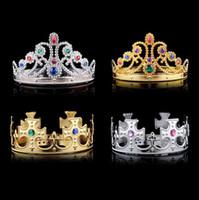bandas de pelo de cristal al por mayor-4 estilos Christmas girl boy Cosplay King y Queen hairbands con cristales oro plata niños Christmas Cosplay Crown Accesorio para el cabello