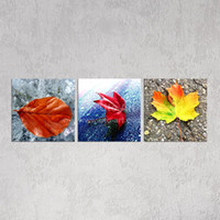 Wholesale Leaves Abstract Wall Art Panel - Modern Unstretched 3 Piece Canvas Art Wall Decoration Pictures of Colorful Leaves Custom Canvas Prints Painting for Bedroom