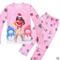 Wholesale Princess Pyjamas - Moana Christmas Pajamas Sets Boys Girls Sleepwear Pyjamas Autumn Winter Long Sleeve Anime Moana Princess Xmas Pajamas Clothes Suits 3-8Y