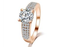 Wholesale Bijoux Femme Rose Gold Plated Wedding Engagement Fashion Cubic Zirconia Rings for Women Girl Gifts for the New Year E500