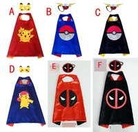 Wholesale Fairy Costumes For Kids - Poke go double layer cape children Cosplay capes Halloween Party Costumes for Kids clothes 1pcs mask+1pcs cape B001