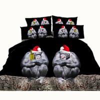 Wholesale Monkey Duvet - Christmas Hat Black Chimpanzee Beer 3D Printed Bedding Sets Twin Full Queen King Size Bedspread Bedclothes Duvet Covers Animal Monkey 600TC