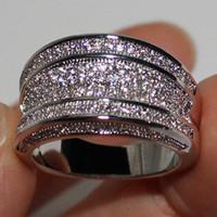 jóias de ouro cheias de ouro de 14k venda por atacado-Vitória Wieck 14 K White Gold Filled Simulado Diamante CZ Pavimentada Wedding Band Anel Grande Para As Mulheres Diamonique Jóias Noivado