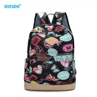 Wholesale Canvas Backpack Large - Fashion Canvas Graffiti Cartoon Backpack Printing Women Student Travel Leisure Laptop School Bags Pack Large Capacity Mochila