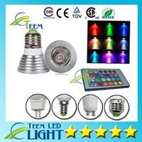 controlador mr16 al por mayor-X50 RGB 3W E27 GU10 Lámpara led Luz E14 GU5.3 85-265V MR16 12V Bombilla de luz LED focos 16Colores Change + IR Remote Controller