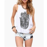 Wholesale Loose Tank Top Pattern - Wholesale-Hot Sale 2015 New Summer Women Tank Top Khamsa Pattern Printed Round Neck Cascading Back Loose Casual Trendy Tops
