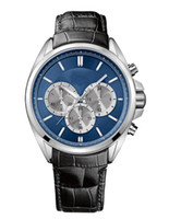 Wholesale Watches Hb - Gent's Blue Dial Black Leather Strap Sports Chronograph Watch HB- 1512882