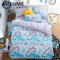 Wholesale Cheap Comforter Sets Animal Print - 2016 Cheap 3D Bedding Sets 4pcs Charming Blue Roses Pattern Design Printed Comforter Sets Queen Size Duvet Cover Bed Sheet