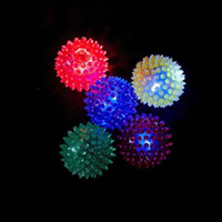 Wholesale Blinking Ball Lights - Kids Children Flashing Light-Up Spiky Ball Blinking Rubber Bouncy Stress Ball Sensory Fidget Toy Halloween Christmas Glow Party Supplies
