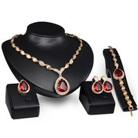Wholesale Moon Stones Sale - High Quality Teardrop Style Bridal Jewelry Four Pieces Set Alloy Necklace Earring Rings and Bracelet For Wedding Hot Sale