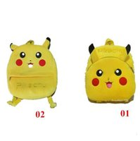 Wholesale Pikachu Plush Backpack - New Pikachu Plush Bags Poke Go School Bags for kids Students Poke Schoolbags Pikachu Backpacks for kids Christmas Gift FREE SHIPPING D683