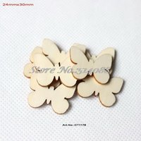 Al por mayor- (150pcs / lot) 24 mm x 30 mm Mariposa de Pascua mariposas de madera artesanía a granel scrapbooking tarjeta making-CT1178