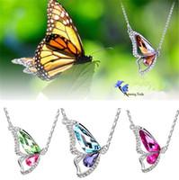 butterfly necklaces großhandel-Neue S925 koreanische tanzende Schmetterling Anhänger Kristall Anhänger Halsketten Boutiquen Außenhandel Quellen Frauen Schmuck 2337-8
