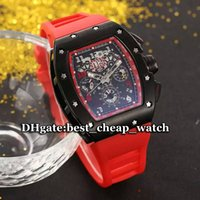 NOVO Hot Sell Brand Luxury Watch Automatic Skeleton 011 Mens Watch All Black Bezel Dial Gent Watch RED Rubber Strap Mens Relógios de pulso RM02