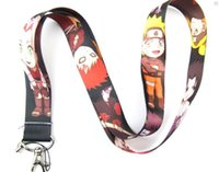 Wholesale Naruto Anime - Lot 10 pcs Anime Cartoon Naruto Lanyard Cell Mobile Phone LANYARD Neck Strap Party Gift Free shipping