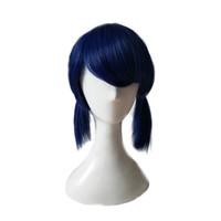парик конского хвоста косплей синий оптовых-WoodFestival божья коровка парик с двойным хвостом косы парики темно-синий короткий прямой синтетический парик женщины косплей волосы челкой
