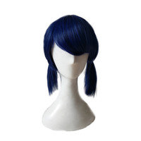 Wholesale braided ponytails resale online - WoodFestival ladybug wig double ponytail braids wigs navy blue short straight synthetic wig women cosplay hair bangs