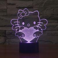 Wholesale Hello Wedding - 2017 new hello kitty Cat Optical Night Light 9 LEDs Night Light DC 5V Factory Wholesale