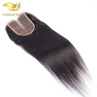 Wholesale Hair Closure Malaysia - Malaysia Lace Closure Straight Hair Three Middle Free Part 4x4 top Brazilain Peruvian Indian Closure Medium Brown Lace Natural Color Closure