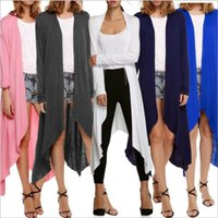 Wholesale Trench Coats Women Plus Size Outerwear Long Sleeve Crochet Cardigans Knitted Casual Lady Tops Irregular Sweater Blouse Women s Blusas B2533