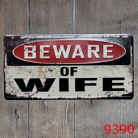 Wholesale pictures metal homes - Beware of Wife vintage embossed metal tin signs garage car plate licence number plate painting plaque picture 15x30cm