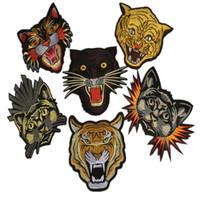 ingrosso zakka animali-1 pezzo patch ricamato zakka tigre ferro cucire zakka appliques animali testa accessori per cucire
