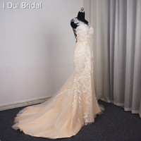 Wholesale Unique Sexy Mermaid Wedding Dresses - 2017 Mermaid Champagne Wedding Dresses Sheer Back Unique Lace Appliqued Sleeveless High Quality Sexy Bridal Gown