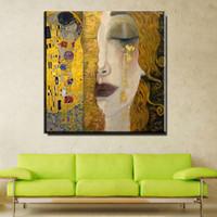 pinturas de niñas al por mayor-ZZ757 Pintura Al Óleo Moderna Arte de la Lona Abstracto Gustav Klimt Lágrimas de Oro Cuadros de la Pared Para la Sala de estar Decoración Para El Hogar Impreso