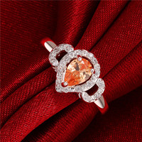 Wholesale wholesale champagne diamonds - Women's love Full Diamond Droplets Ring 925 silver Ring STPR012A brand new champagne gemstone sterling silver finger rings