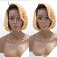 Short Ombre Full Lace Wig, Color2 # T27 # Wavy Honey Blonde Bob Ombre Peruca de Cabelo Humano, Front Lace Wig Blonde Ombre Color Wigs