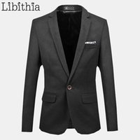Men Cotton Blazer One Buttons Slim Fit 2017 New Arrival Brand Coat Grande tamanho 6XL Casual Casaco Masculino Terno Masculino Grey J200