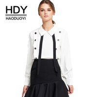 HDY Haoduoyi Moda Sweet Dolce Elegante Camicie Donne Panchina Pan Collare Buttons Ruffles Camicia Casual Camice Donna Top q1109