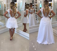 Wholesale high collar maternity wedding dresses resale online - Glamorous Lace See Through Back White Wedding Dresses Bridal Gowns With Crystal Beads A Line Sheer Illusion Neck With Detachable Train