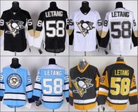 Wholesale Authentic Jersey 58 - 2016 Cheap Pittsburgh Penguins Hockey Jerseys #58 Kris Letang Authentic elite Jersey Home Black White Blue Yellow Third Wholesale 3rd