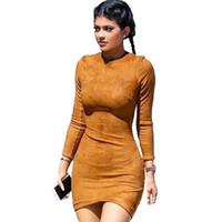 schöne sexy lässige kleider großhandel-Frauen Faux Wildleder Bodycon Kleid Schöne Neue Damen Herbst Langarm Casual Elegante Sexy Club Party Kleider Femme Vestidos