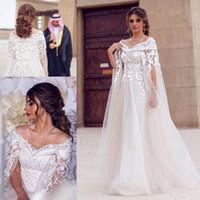 ingrosso fiore del collo nuziale-Dubai pizzo Cape abiti da sposa in stile 2017 Bateau collo 3D del merletto del fiore Destination Maternity arabo sposa A Linea nuziale Gowns